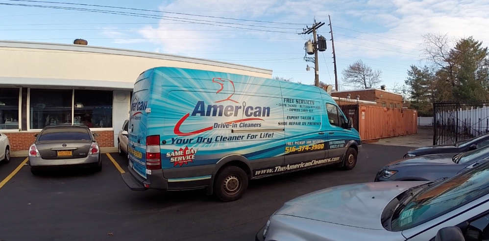 New-York-Advertising-Agency-Marketing-Full-Service-Long-Island-NY-Ad-Agencies-Creative-Vibe-The-American-Drive-In-Cleaners-Dry-Cleaning-Vehicle-Wrap-Branded-Truck-Branding-Tailoring